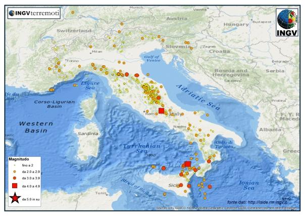 I terremoti registrati a febbraio dalla RSN.