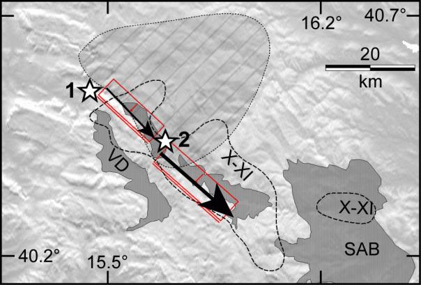 Schema della sequenza delle scosse proposte da Burrato e Valensise (2007) per il terremoto del 1857. Le frecce mostrano la direttività della rottura ipotizzata, che spiega i danni maggiori avuti nella parte sudorientale dell'area di risentimento. Le stelle indicate con