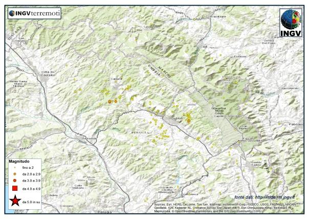 La sismicità nell'area di Gubbio durante il mese di febbraio 2015.