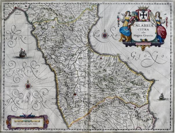 Una stampa risalente alla metà del '600 raffigurante la mappa della provincia di Calabria Citra (fonte: http://www.museodeibrettiiedelmare.it/it/guida/sezione-storica-fondo-cartografico-losardo-sala-ix-tavv-xix-xx/ ).
