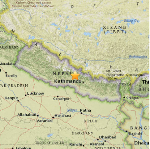 Epicentro del terremoto (fonte: USGS)