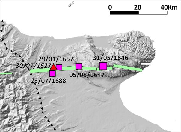 Figura 7: epicentri macrosismici dei terremoti garganici avvenuti nel corso del XVII secolo, tra 1627 e 1688 [immagine da Camassi et al. (2008), modificata]