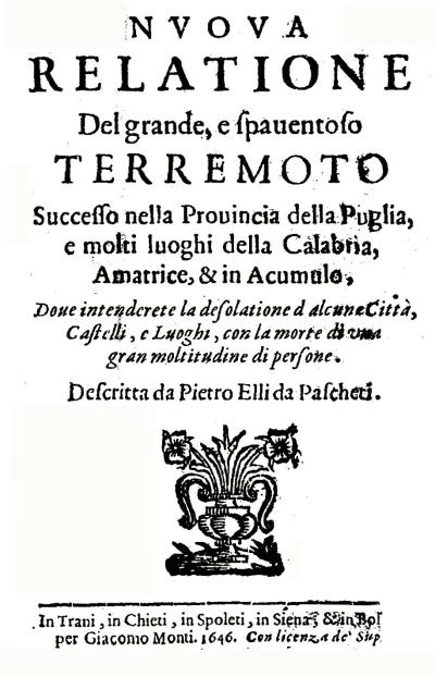 Figura 3: una fonte storica coeva all'evento (Nuova Relatione…, 1646)