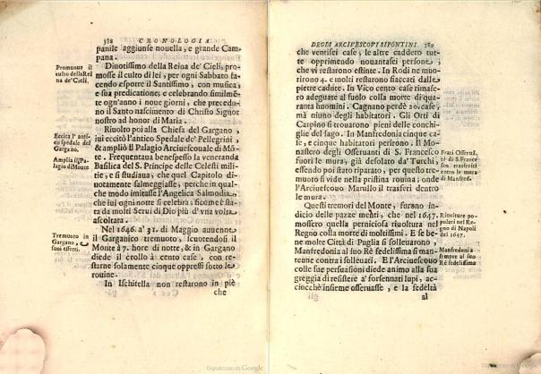 Figura 2. Il terremoto garganico del 31 maggio 1646 descritto da una fonte storica della seconda metà del XVII secolo (Sarnelli, 1680)