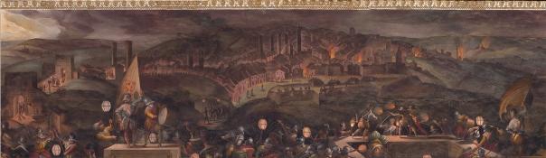 un pezzetto di affresco del Vasari dal Salone dei Cinquecento, con raffigurazione di Siena tra i bombardamenti del 1554-1555.
