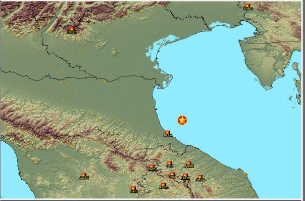 Epicentro dell'esplosione in Adriatico come calcolato dai dati della rete Sismica Nazionale dell'Ingv