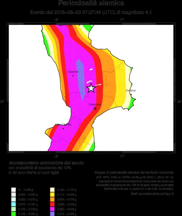 Localizzazione dell'evento di questa sera, ML 3.7, in provincia di Trento sovrapposto alla Mappa di pericolosità sismica del territorio nazionale.