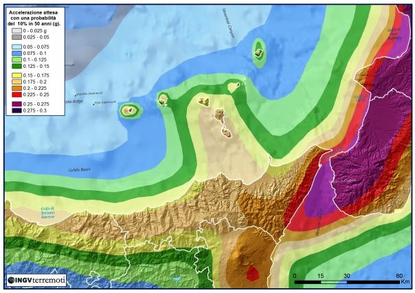 Localizzazione dell'evento di magnitudo ML 4.1, in provincia alle Isole Eolie sovrapposto alla mappa di pericolosità sismica del territorio nazionale.