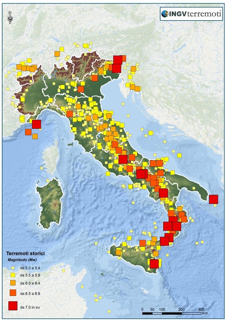 La sismicità dall'anno 1000 al 2006 (Dati: CPTI11, <a href=