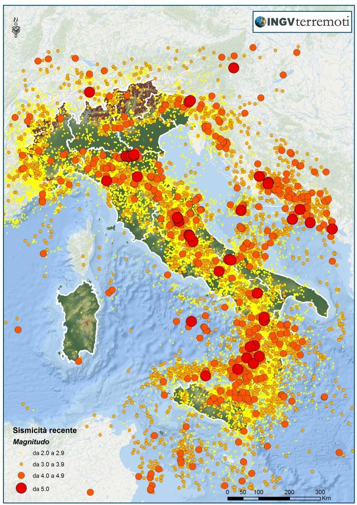 La sismicità dal 1985 al 2014. Sono mostrati i terremoti di magnitudo ML?2.0 registrati dalla Rete Sismica Nazionale (Dati: Iside, <a href=