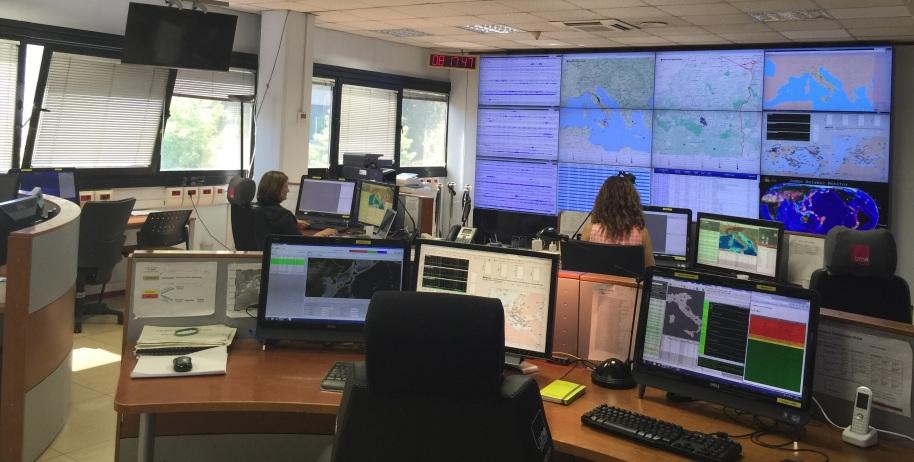 La sala operativa di monitoraggio sismico di Roma.