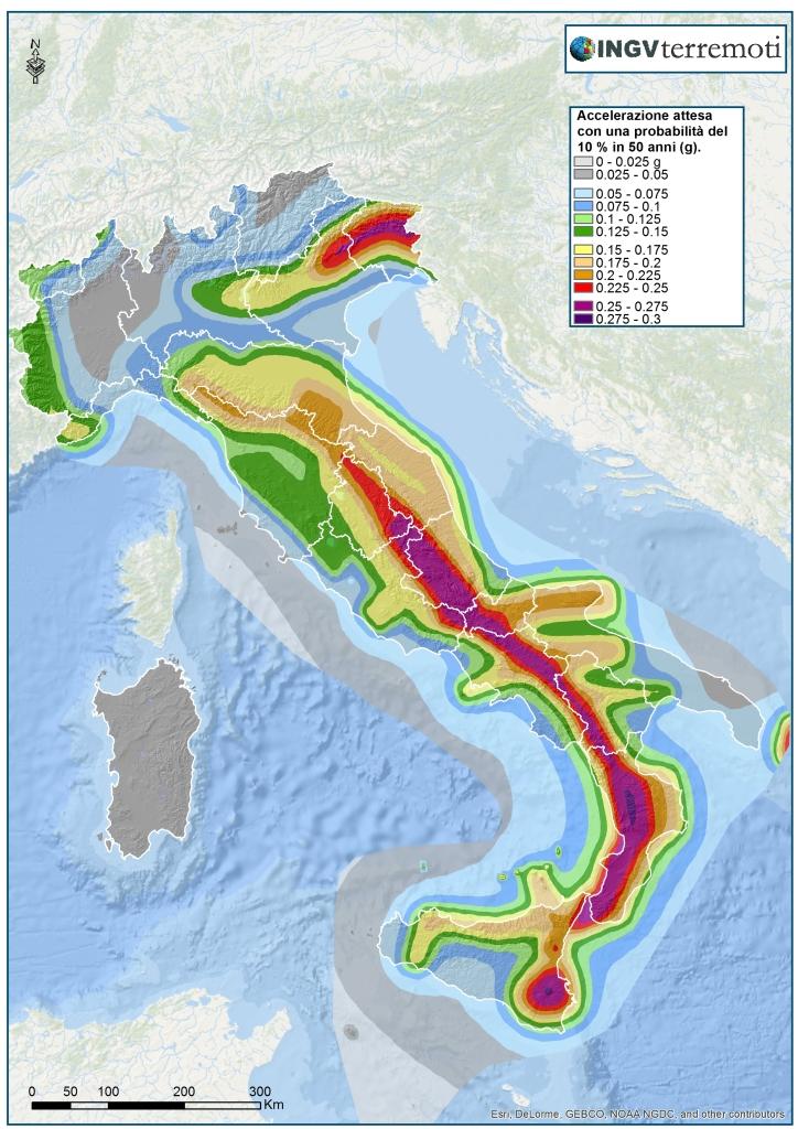 La pericolosità sismica del territorio nazionale (Ordinanza PCM n. 3519/2006, http://zonesismiche.mi.ingv.it/).