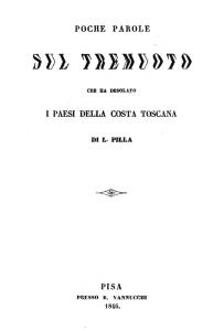 Leopoldo Pilla - Poche parole sul tremuoto