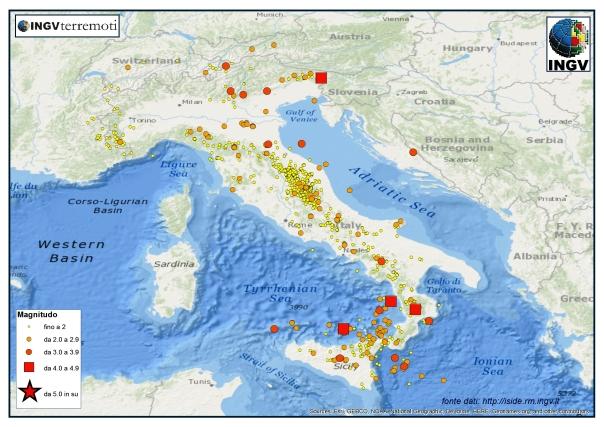 I terremoti registrati dalla Rete Sismica Nazionale dell'INGV dal 1 al 31 agosto 2015.