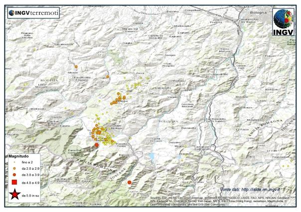 La sequenza in Appennino bolognese durante il mese di luglio 2015: circa 150 i terremoti i terremoti registrati nell'area.