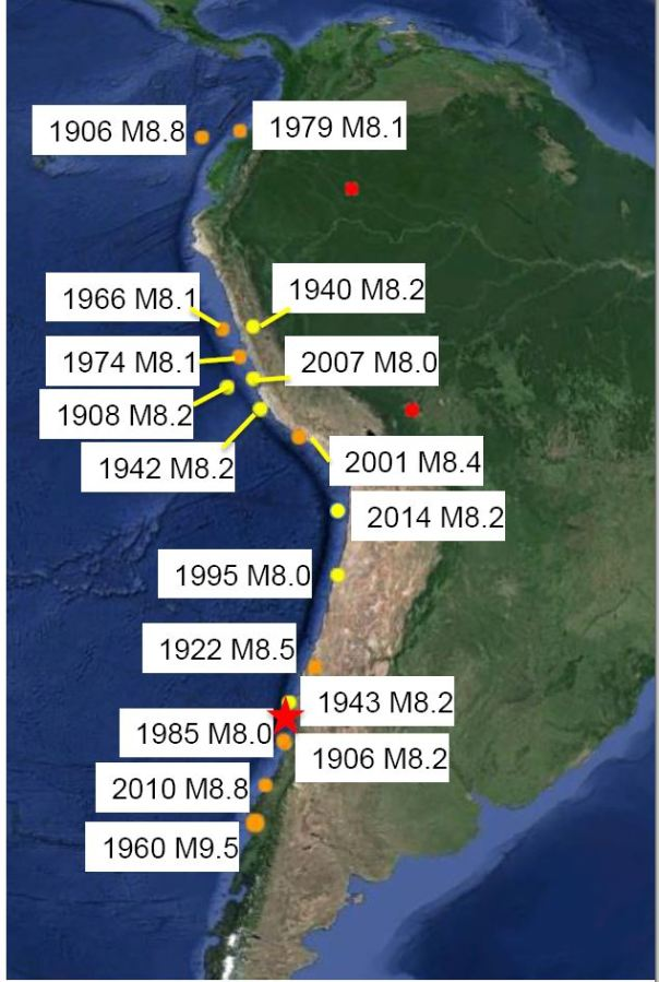 Forti terremoti (magnitudo >= 8.0) avvenuti nell'America del sud dal 1900 ad oggi. (Fonte dati: USGS, Figura IRIS)