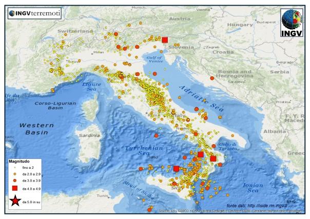 I terremoti registrati dalla Rete Sismica Nazionale dell'INGV dal 1 giugno al 31 agosto 2015.