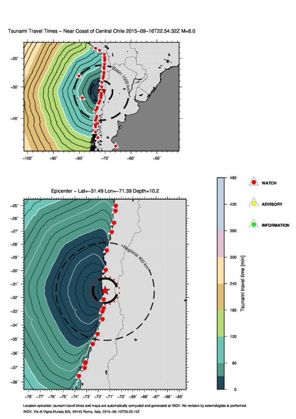 Isocrone della propagazione della prima onda di tsunami e livelli presunti di allerta sulle coste dell'America del sud.
