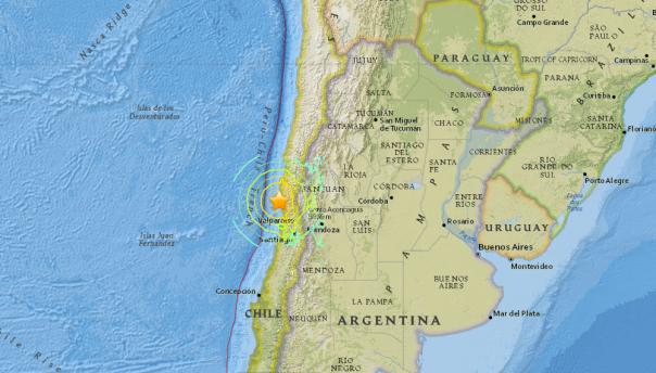 Epicentro del terremoto di magnitudo 8.2 in Cile (mappa:USGS)