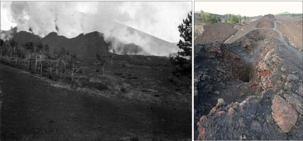 Figura 2. Sinistra: attività esplosiva lungo la frattura eruttiva apertasi sul Rift di Nord-Est nel 1911 (fonte: Catalogo Fondo G. Ponte). Destra: la frattura eruttiva come si presenta oggi (foto R. Azzaro).