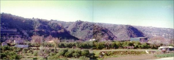 Figura 4. La scarpata di faglia di Moscarello sullo sfondo e, in primo piano, l'area di Fondo Macchia (foto R. Azzaro).