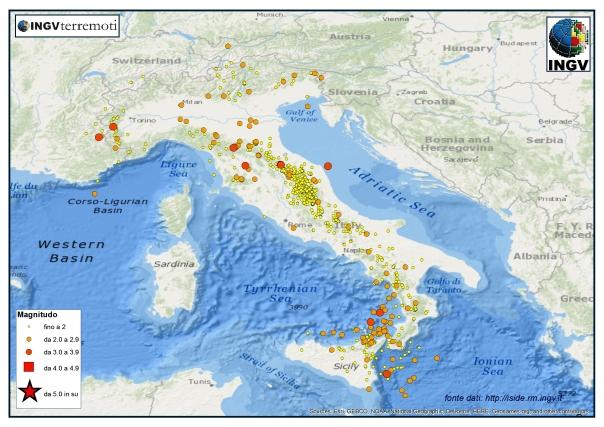 I terremoti localizzati dalla Rete Sismica Nazionale nel mese di settembre