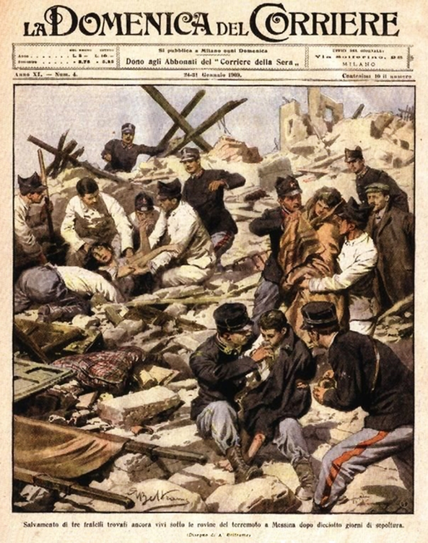 Militari impegnati a Messina nell'opera di soccorso (La Domenica del Corriere, 24 gennaio 1909).