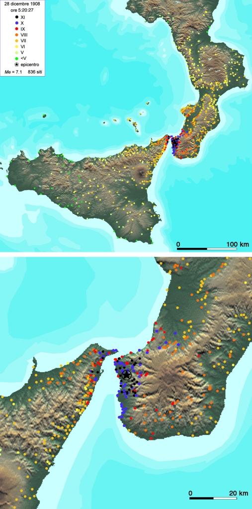Localizzazione degli effetti classificati del terremoto del 28 dicembre 1908 (da Guidoboni e Mariotti 2008).