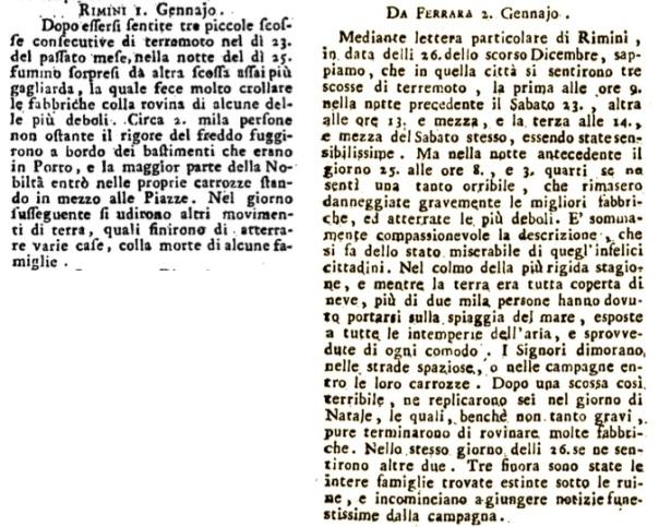 """Breve corrispondenza da Rimini pubblicata dalla Gazzetta Universale del 6 gennaio 1787 e altra da Ferrara che riproduce una dettagliata """"lettera particolare"""" da Rimini, pubblicata dalla gazzetta Notizie del Mondo lo stesso 6 gennaio 1787."""