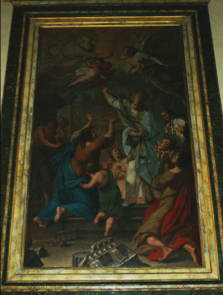 Sant'Emidio che protegge Rimini dal terremoto, Giuseppe Soleri Bracaleoni, 1793. Rimini, Chiesa del Suffragio.