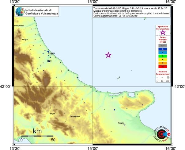 La mappa del risentimento sismico in scala MCS (Mercalli-Cancani-Sieberg) mostra la distribuzione degli effetti del terremoto sul territorio. Con la stella in colore viola viene indicato l'epicentro strumentale del terremoto, i cerchi colorati si riferiscono alle intensità associate ad ogni Comune. Nella didascalia in alto è indicato il numero dei questionari elaborati per ottenere la mappa stessa. (http://mappe.haisentitoilterremoto.it/6068821/mcs.jpg)