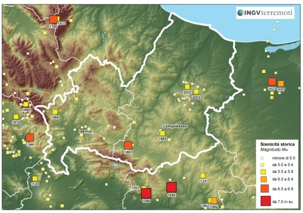 Distribuzione della sismicità storica in Sicilia negli ultimi mille anni (fonte: CPTI11).