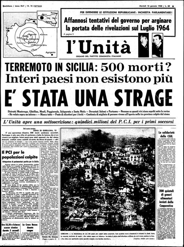 """Copertina de """"L'Unità"""" all'indomani del terremoto del 15 Gennaio 1968"""