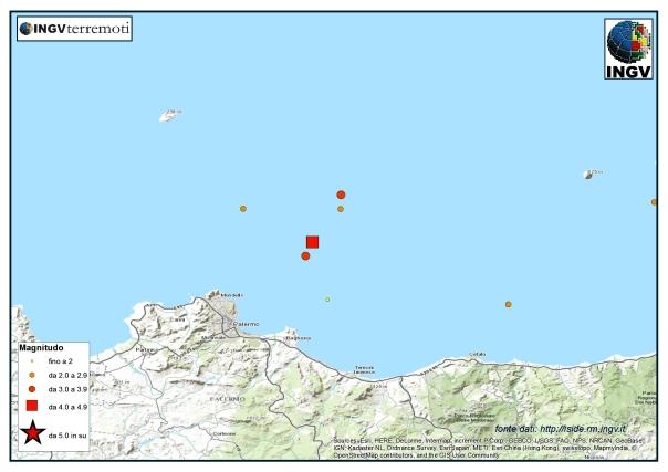 La piccola sequenza al largo della Costa siciliana centro settentrionale.