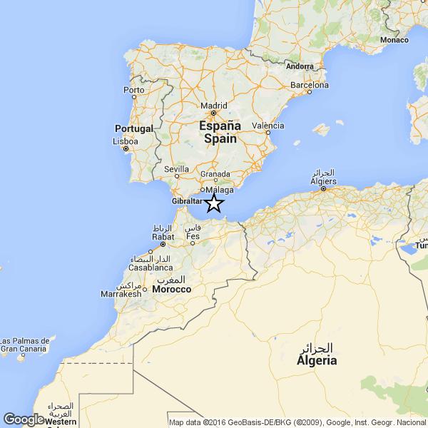 Localizzazione del terremoto di magnitudo 6.3 avvenuto questa mattina alle ore 05:22 italiane nello Stretto di Gibilterra.