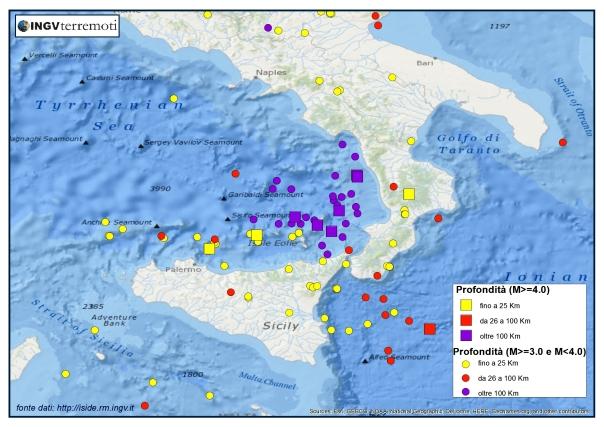 La sismicità del 2015 nel sud Italia classificata e tematizzata anche in base alla profondità ipocentrale. tematizzata in base