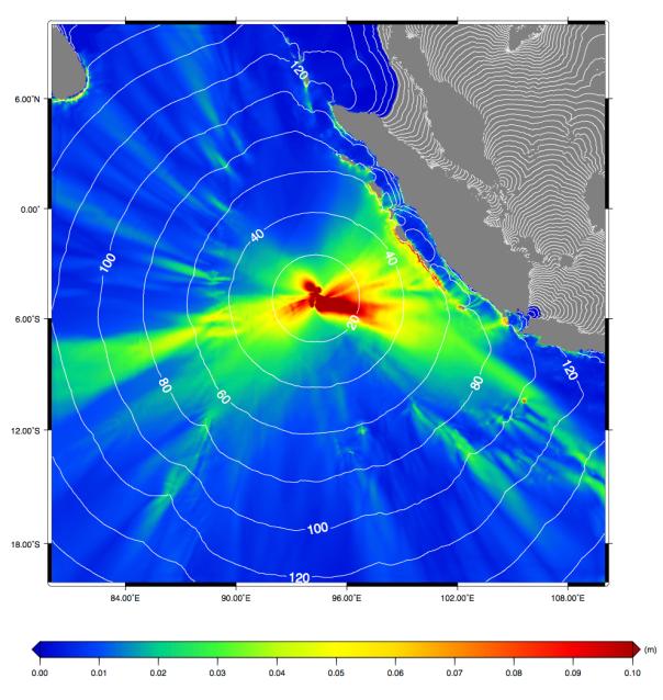 Altezza massima delle onde di tsunami calcolate assumendo che la faglia attivata sia quella nord-sud (parametri dall'USGS).