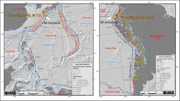 Le due mappe mostrano il contesto tettonico entro cui si inquadrano i terremoti del Giappone e dell'Equador. In entrambi i casi le aree colpite sono caratterizzate da una zona di subduzione, ma nel caso del terremoto del 15 aprile la faglia attivatasi è una struttura secondaria presente nella placca superiore. Questi due terremoti mostrano che il livello di danneggiamento sofferto dalle aree colpite non dipende solo dalla magnitudo del terremoto ma anche dalla sua profondità. Le mappe sono tratte dal sito dell'USGS (http://earthquake.usgs.gov/).