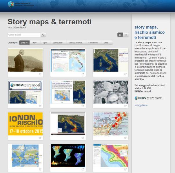 La galleria Storymaps & Terremoti (terremoti.ingv.it/storymaps)