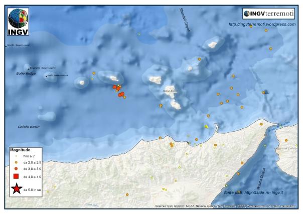L'attività sismica nell'area dell'Aricpelago delle Eolie durante io mese di marzo 2016.