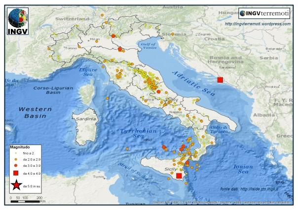 La sismicità registrata nel mese di febbraio 2016.