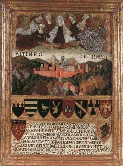 Francesco di Giorgio Martini (attr.), La Madonna protegge Siena in tempo di terremoti (1467), Archivio di Stato di Siena, Museo delle Tavolette di Biccherna.