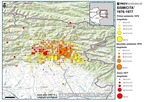 Distribuzione della sismicità dal 1° gennaio 1976 al 31 dicembre 1977 in Friuli, sono visibili le varie sequenze nel tempo