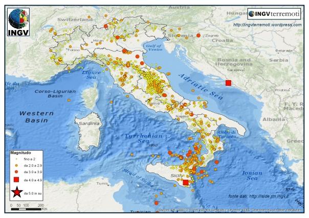 La sismicità in Italia registrata dalla Rete Sismica Nazionale dell'INGV nei mesi di febbraio, marzo e aprile 2016.