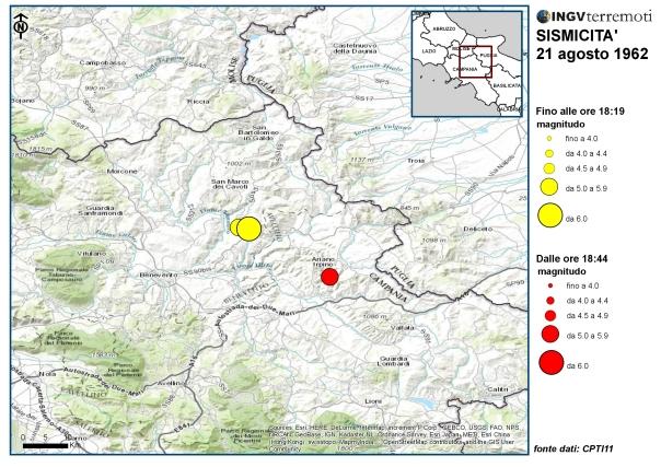 Distribuzione della sismicità del 21 agosto 1962 nel Sannio-Irpinia. La prima situata nella zona montuosa, la seconda nei pressi di Ariano Irpino