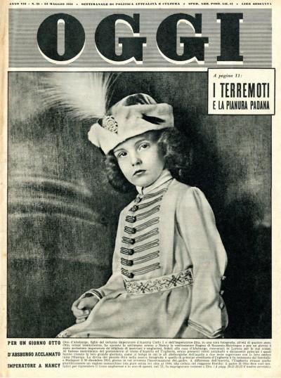 """Fig. 2 – Frontespizio del settimanale """"Oggi"""" del 24 maggio 1951 con il richiamo all'articolo sui terremoti della Pianura Padana."""