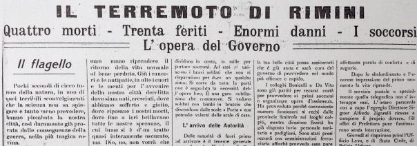 I titoli di prima pagina del settimanale Corriere Riminese del 27 agosto 1916.