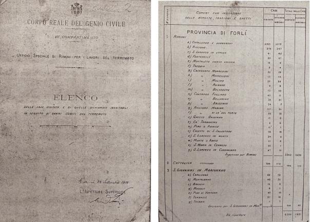 Elenco delle case visitate e di quelle dichiarate inabitabili in seguito ai danni subiti dal terremoto, Archivio di Stato di Forlì, Genio Civile, b. 1.