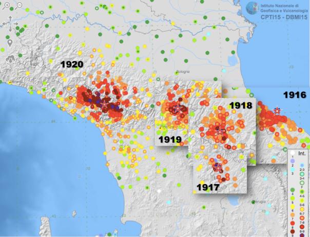 L'area interessata dalla serie di forti terremoti fra 1916 e 1920 [fonte: DBMI15 (http://emidius.mi.ingv.it/CPTI15-DBMI15)]