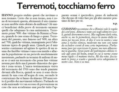 """""""Terremoti, tocchiamo ferro"""", lettera a un quotidiano riminese, giugno 2016."""